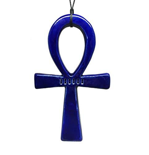 Croix Ankh - ou Croix de Vie - amulette égyptienne ancestrale au pouvoir vibratoire élevé. Céramique. Réalisé à la main, qualité supérieure (Bleu)