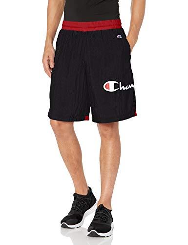 Champion Life Men's Crinkle Short, Black/Scarlet, Medium