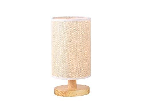 Wood Table Lamp Desk Lamp Fabric Shade Brown