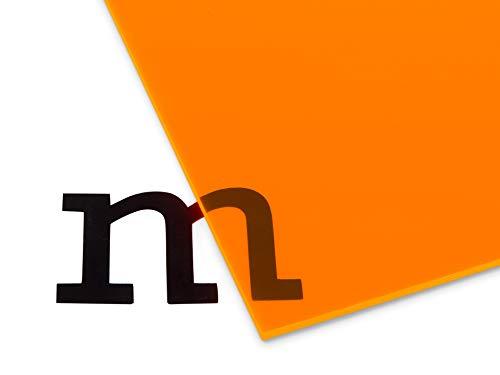Modulor Acrylglas GS farbig, vielfältig nutzbare und fluoreszierende Acrylglasplatte für Lichtobjekte und Beleuchtungszwecke, 3 mm dicke Acrylplatte in 12 x 24,5 cm, orange transparent