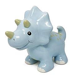 3. Hapinest Ceramic Triceratops Dinosaur Piggy Bank