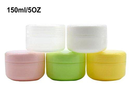 150ml (5OZ) pots de cosmétiques vides rechargeables avec support pour étui de bouteille pour lotion pour le visage crème pour les lèvres lot de 3 (Vert)