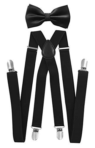 axy axy Herren X-Form Hosenträger mit Hochweritge Fliege - bereits gebunden, 4 Starken Clips HFL1A (Schwarz (Hosenträger Breit 2,5cm))
