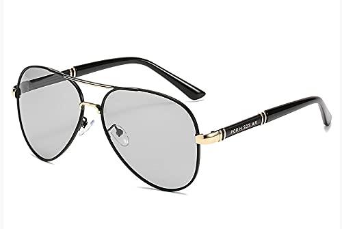 Gafas De Sol Polarizadas Diurnas Y Nocturnas Tamaño medio Película de decoloración del marco de oro negro