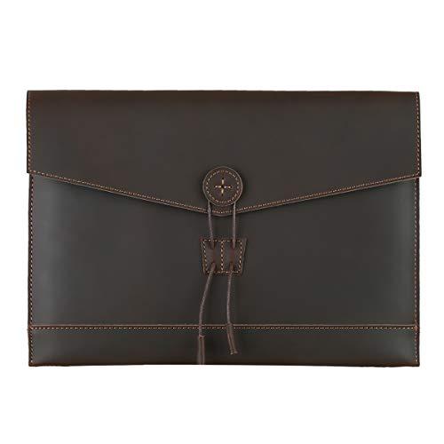 Leathario Bolso de Mano Cuero Vintage Portafolio Funda para A4 Documentos Archivo Organizador Sobre...