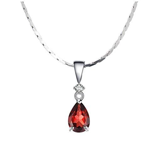 kerryshop Collar de Mujer Collar Pendiente clásico rubí Granate Señora clavícula joyería de Moda Colgante de la Cadena Señora Conveniente for el Regalo de la Esposa de la Madre Collar Nuevo