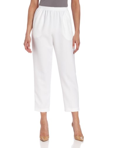 Alfred Dunner Women's Pull-On Style All Around Elastic Waist Polyester Cropped Missy Pants, White, 12