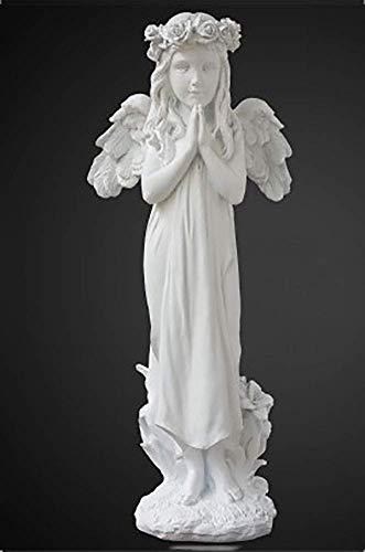 JSMY Figuras de estatuas de querubines Rezando de pie,mármol,decoración del jardín del hogar,Boda,Navidad,alas de niños para Interiores y Exteriores,esculturas de ángel J 48x21x15cm(19x8x6inch)