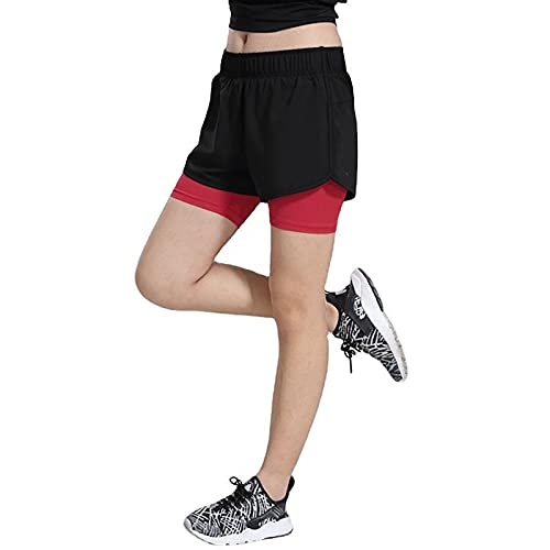 Pantalones Cortos Deportivos para Mujer, Pantalones Cortos básicos de Entrenamiento de Baloncesto de Dos Piezas Falsos con Costuras elásticas de Moda L