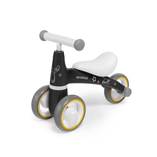 """skiddoü Kinderlaufrad Berit, Dreirad, Schieber für Kinder, Fahrrad ohne Pedale, Fahrradfahren lernen, drei 6\"""" EVA-Räder, rutschfester Griff, bequemer Sitz, leichte Konstruktion 2 kg, grau"""