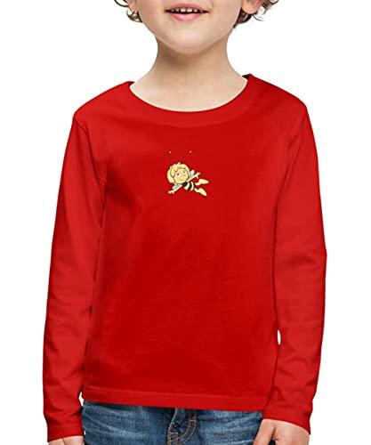 Spreadshirt Biene Maja Fliegt Retro Kinder Premium Langarmshirt, 98-104, Rot