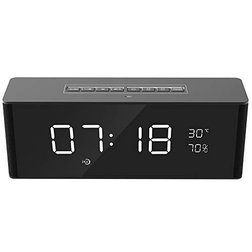 WHALLO Altavoces Bluetooth portátiles inalámbricos con Radio FM, pequeño Conjunto de Altavoces Bluetooth para Exteriores ruidosos, Reloj Despertador Bluetooth reuniones Familiares y Viajes al