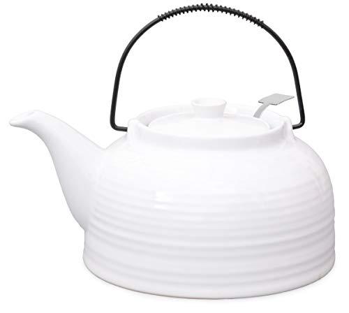 Nelly Aricola Teekanne Moderne Teekanne 1,5 Liter in weiß/weiß aus hitzebeständiger Keramik mit Edelstahlfilter.