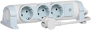 Legrand, drehbare Steckdosenleiste mit Kontroll-Schalter EIN/AUS und LED-Beleuchtung, 3 Steckdosen 3-fach zur Befestigung an Wand und Tisch, 694621