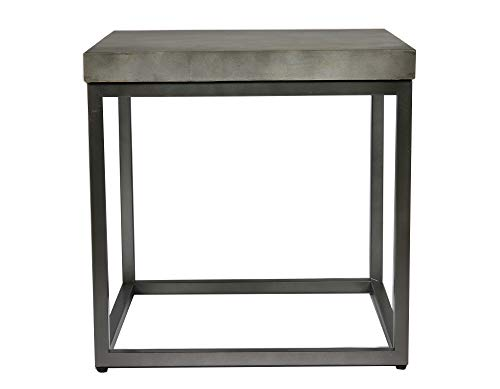 Emerald Home Onyx Aged Concrete and Brushed Nickel End Table with Rustic Concrete Look Top and Modern Metal Frame