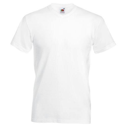 Fruit of the Loom Valueweight T-Shirt für Männer mit V-Ausschnitt, kurzärmlig (4XL) (Weiß)