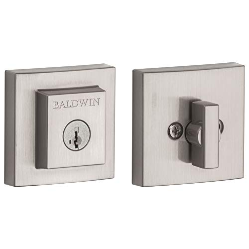 Baldwin Spyglass Single Cylinder Square Deadbolt for Front Door and Garage Door Featuring SmartKey Security in Satin Nickel, Prestige Series with a Modern Contemporary Slim Design