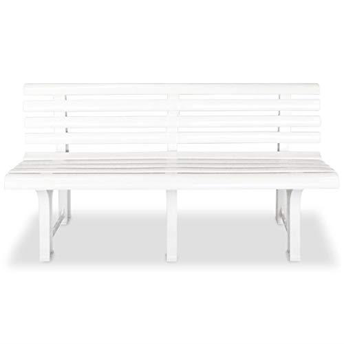 Tidyard Banc de Jardin en Plastique 145,5 x 49 x 74 cm pour Balcon, Jardin, Patio Blanc
