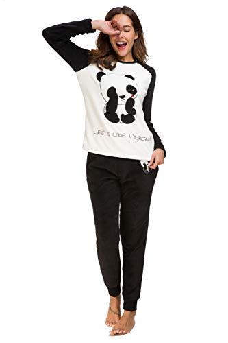 Alcea Rosea - Pigiama a maniche lunghe, per donne e ragazze e adolescenti panda XX-Large