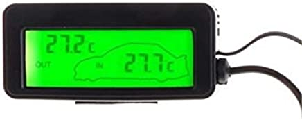 Mini Digital Car LCD Display Indoor Outdoor Thermometer 12V Vehicles 1.5m Cable Sensor #0620 : Green