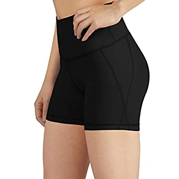 ODODOS Women s Yoga Short Tummy Control Workout Running Athletic Non See-Through Yoga Shorts with Hidden Pocket,Black,Large