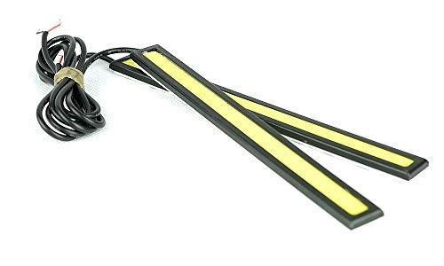 2 x 14 cm DRL COB LED Correr luz Bar impermeable DC12 V externo coche styling fuente negro vivienda niebla día lapms