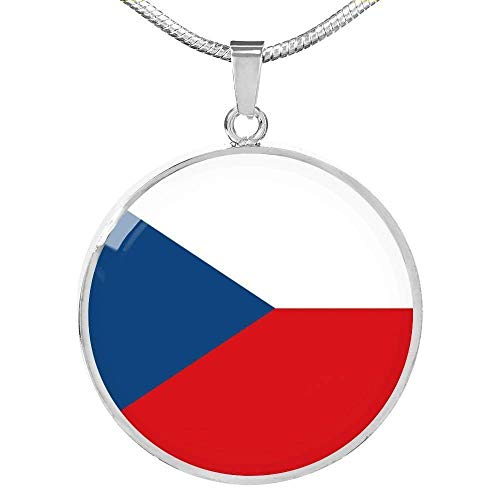 Express Your Love Gifts República Checa Bandera Collar Stainless Steel Oro 18k Gold 18-22'