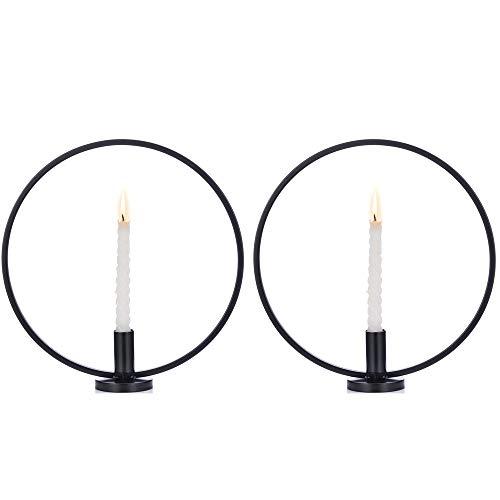 Nuptio Kerzenhalter 2er Set, Taper Kerzenhalter aus Eisen im Nordischen Stil, Kerzenhalter für Hochzeitsdekor, Kaffeebar, Tischdekoration, Schwarz Kerzenständer für Weihnachten Wohnzimmer Deko