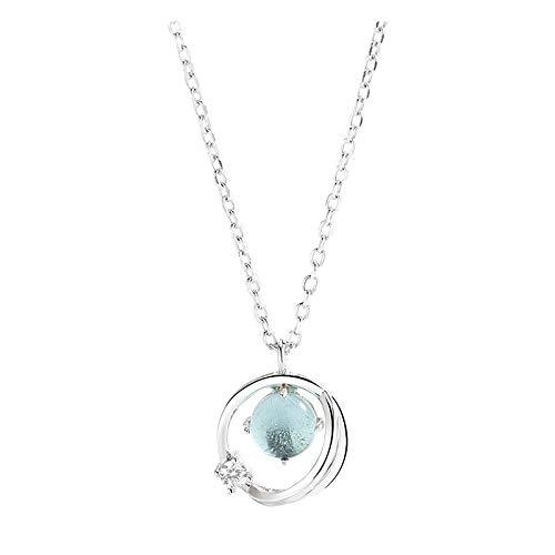 dTrend S925Sterling Silber Halskette Weibliche Einfache Aurora Glasierte Diamant Kreis Planet Anhänger Schlüsselbein Kette Schmuck