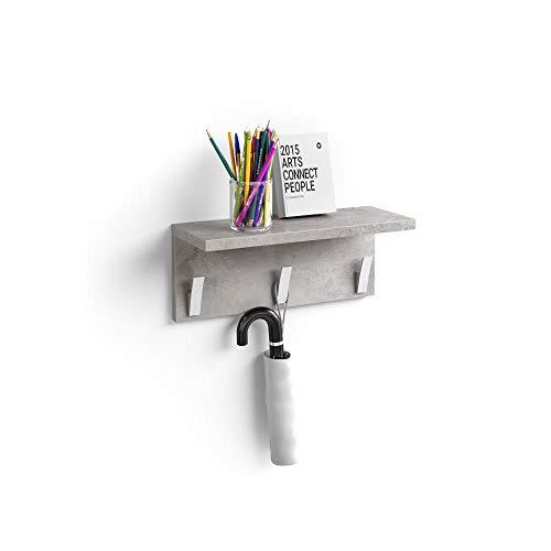 Mobili Fiver, Appendiabiti da Parete, Rachele, da 40 cm, Grigio Cemento, Nobilitato/Alluminio, Made in Italy, Disponibile in Vari Colori