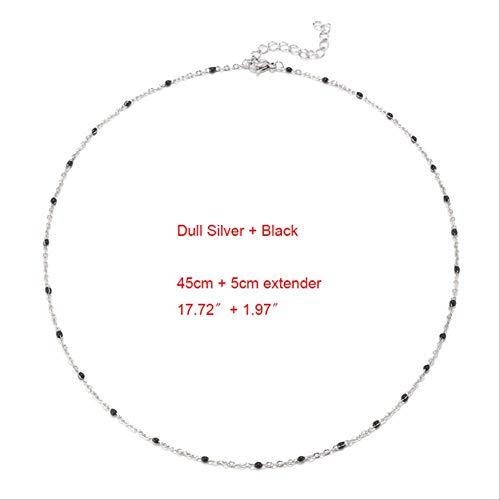 Collar BDCF de acero inoxidable, 1 gargantilla de oro y plata, esmalte satelital, cadena de bolas, gargantilla, collar para mujer, plateado y negro