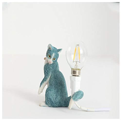ROCCY Katzen-Tischlampe,Harz Katze nachtlicht kreative Cartoon Bett Dekoration kleine tischlampe hausgarten Dekoration Geschenk schüler Lernen Geschenk,Bluec