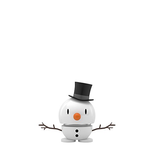 Hoptimist Figurine Bébé bonhomme de neige, Plastique Métal, weiß, Durchmesser: 5,00 cm