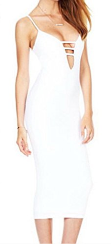 Xiang Ru Femme Vogue Slim Robe aux Bretelles sans Manches Dos Nu Polyester Blanc Buste 88cm