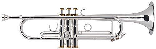 Lechgold TR-16S Bb-Trompete (für Einsteiger und Fortgeschrittene, Spezial-Ventile 100% Edelstahl, edle Handgravuren, inkl. Gigbag mit Rucksackgurten, Mundstück, Reinigungstuch) silber