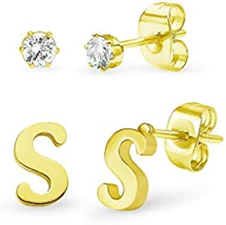 Stainless Steel Yellow Gold Tone Alphabet Initial Letter Tiny Earring Studs & Cubic Zirconia 3mm Set A-Z