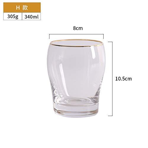 BENGKUI WUWENJIE Crystal Botting Water Juice Taza de té Whisky Beer Champagne Glasses Glasses Helado Tazas Frío Bebida Taza Copa de Vino Tazas 2020 H 340ml