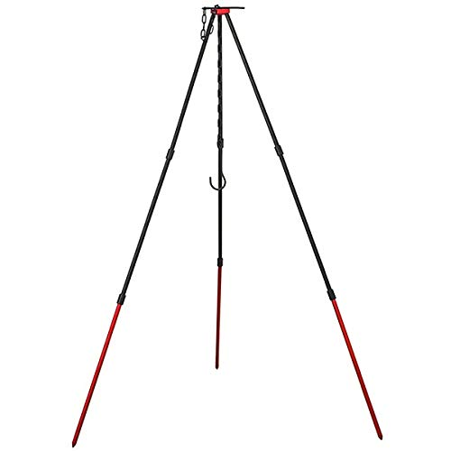 OMUKY Dreibein Grill/BBQ Grill Tripod Stabil und Zerlegbar Dreibeingestell für Gulaschkessel,Topfs,Mit Tasche (rot)