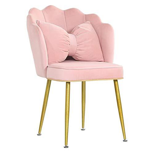 WTDlove Velvet Scalloped Chair Akzent Sessel Wohnzimmer Single Occasional Lounge Chair Schlafzimmer Metallbeine Sofa Beistellstuhl Mit Gepolstertem Sitz Modernes Home Office Dekor (pink)