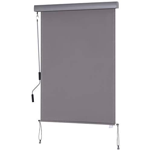 Outsunny Senkrechtmarkise Balkonmarkise Vertikalmarkise Windschutz Seitenrollo Sichtschutz mit Handkurbel Polyester+Aluminium Grau 100 x 140 cm