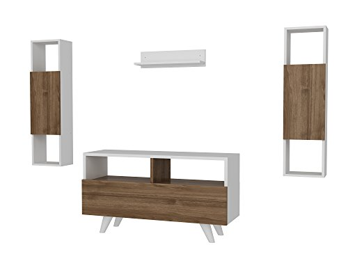 Alphamoebel TV Board Lowboard Fernsehtisch FernsehHängeschrank Sideboard, Fernseh Hängeschrank Tisch für Wohnzimmer I Weiß Walnuss I Novella K3445 2558 I 90 x 29,5 x 39 cm