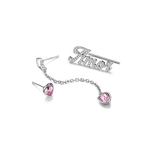 925 Sterling Silber Kristall Ohrringe Set Lange Quaste Mädchen Asymmetrische Ohrstecker mit Geschenkbox