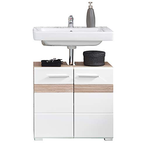 Trendteam 133630196 Set One - Mueble para debajo de lavabo, Mueble base Skin Gloss, roble San Remo claro, parte frontal en blanco brillante, 60 x 56 x 34 cm
