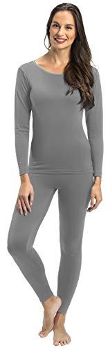 Rocky Thermal Underwear for Women Lightweight Cotton Knit Thermals Women's Base Layer Long John Set (Grey - Lightweight - Small)