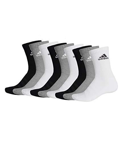 adidas 9 Paar Performance CUSHIONED CREW 3p Tennissocken Sportspocken Unisex, Farbe:032 - grey melange, Socken & Strümpfe:46-48