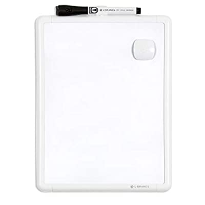 U Brands Contempo Magnetic Dry Erase Board, 8.5 x 11 Inches, White Frame, Magnet and Marker Included (251U00-04)