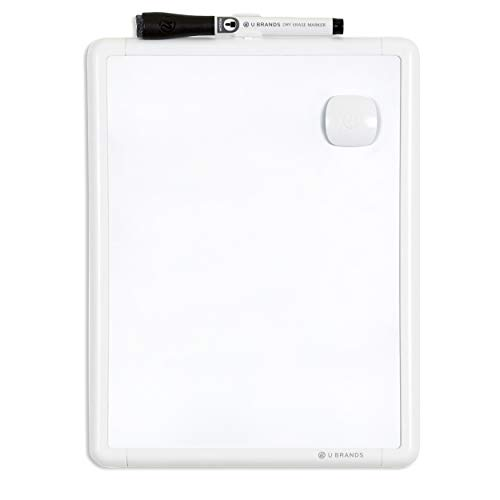 U Brands Contempo Magnetic 8.5' x 11' Dry Erase Board, White Frame, Magnet and Marker Included