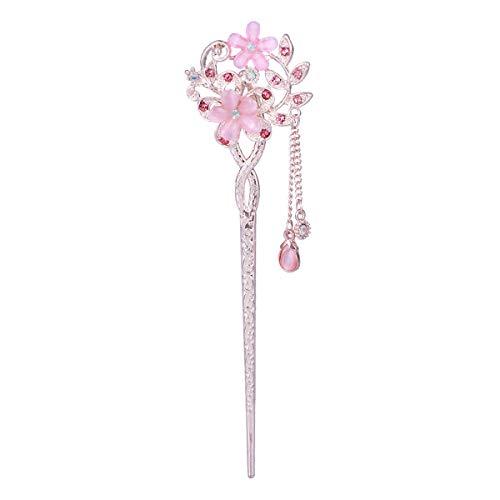 Frcolor Palillos de Cabello Estilo Chino Antiguo con Cristal para Decoración del Pelo de Mujer y Regalo de Novia (Rosa)