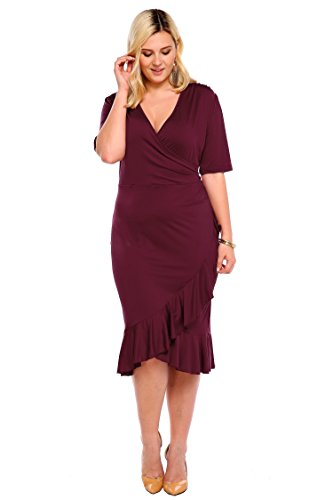 Whimsy Wrap Flounce High-Low V Neck 3/4 Sleeves Plus Size Casual Dress Plus Size Wear to Work Dress