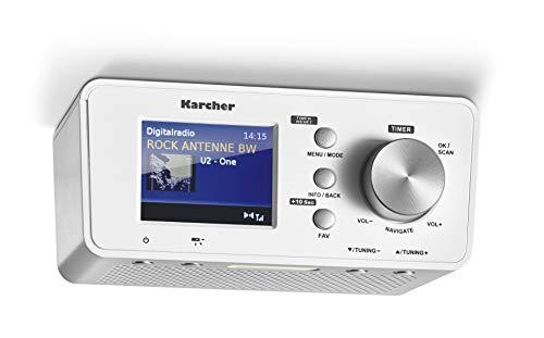 Karcher RA 2035D - Radio da incasso con DAB + / radio FM (20 stazioni memorizzabili) e Bluetooth, sveglia (doppio allarme),...